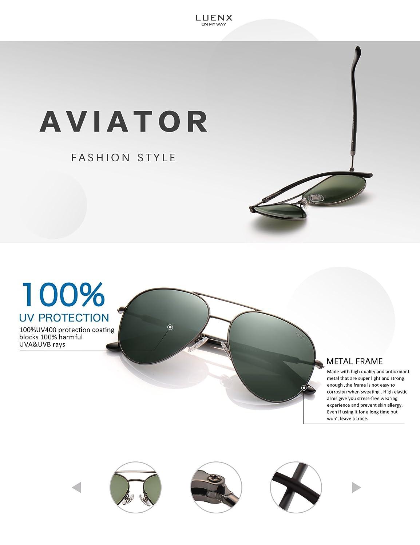130f18ff46 Amazon.com  LUENX Mens Womens Sunglasses Aviator Polarized Dark Green Lens  Gun Metal Frame - UV 400 Protection 60mm Driving  Sports   Outdoors
