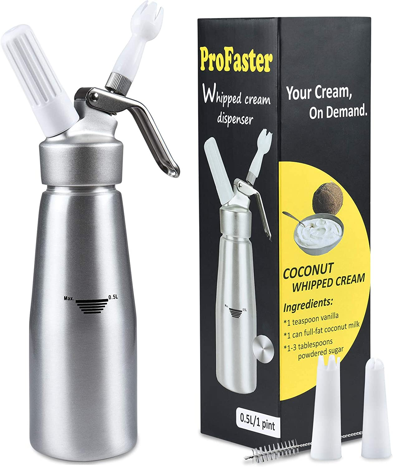Profaster Whipped Cream Dispenser-1 Pint Professional Whip Cream Canister with 15 Different Cream of Recipe for Homemade Whipped Cream Use 8g N2O Whip Cream Dispenser Chargers (Not Included)