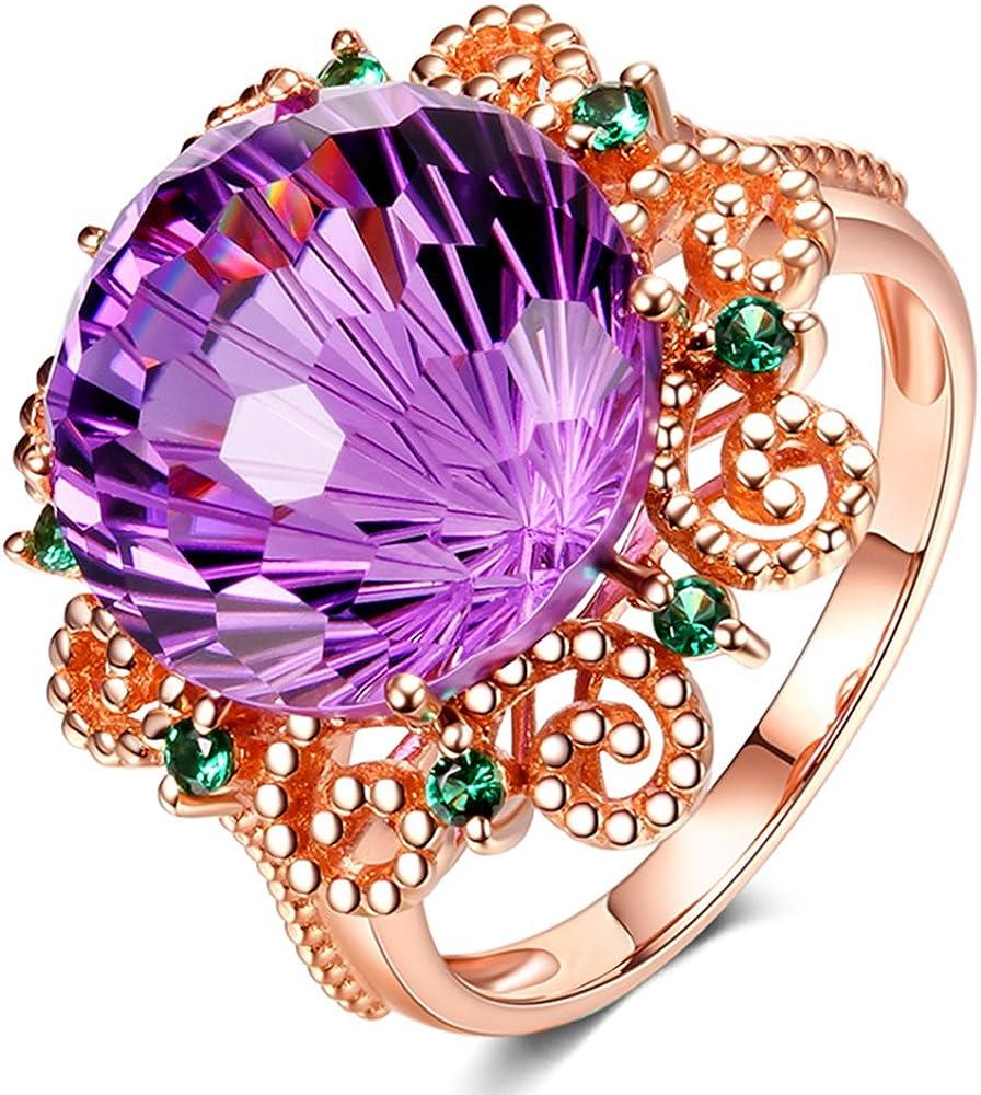 Sorpresa Moda 14K Oro rosa Naturales Amatista Piedra preciosa Diamante Boda Compromiso Fiesta Anillo Conjuntos para Mujer
