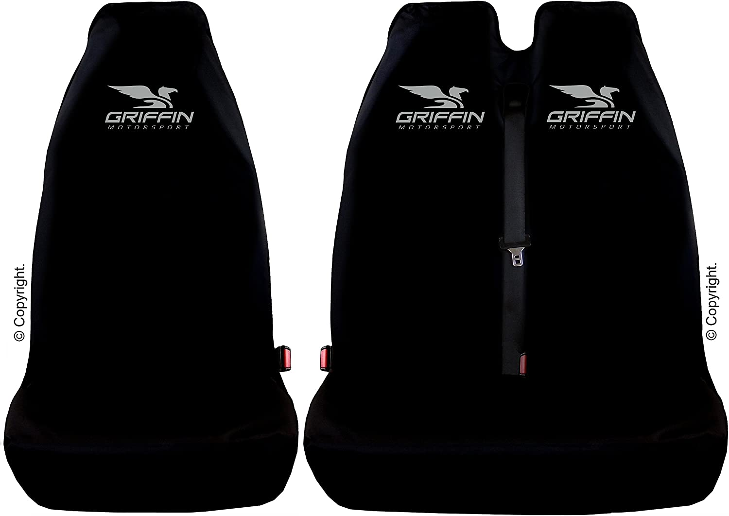 GRIFFIN MOTORSPORT Genuine Protective Single /& Twin Seat Covers in BLACK British Made Quality VIVARO COMPATIBLE