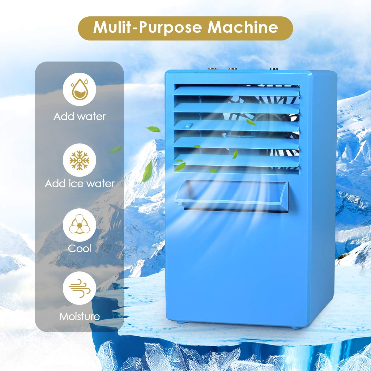 Room Dorm Outdoor Air Personal Space Cooler Small Desktop Fan Quiet Personal Table Fan Mini Evaporative Air Circulator Cooler Humidifier Bladeless Quiet for Office Personal Air Conditioner Fan