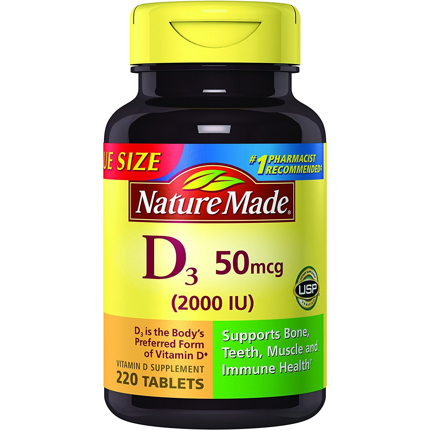 Nature Made Vitamin D3 2000 IU Tablets 220 Ct Value Size (Packaging may vary), 2 Pack