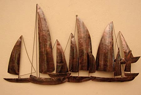 Hand Made Copper Ships Metal Wall Art Unusual Copper Sailing Ships ...