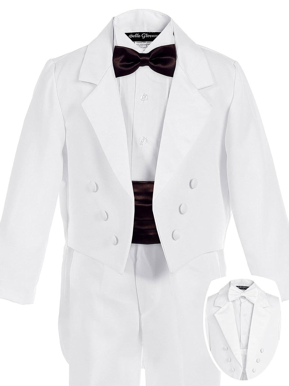 Bello Giovane Boys White Penguin Tuxedo with Colored Cummerbund 7 Piece Set