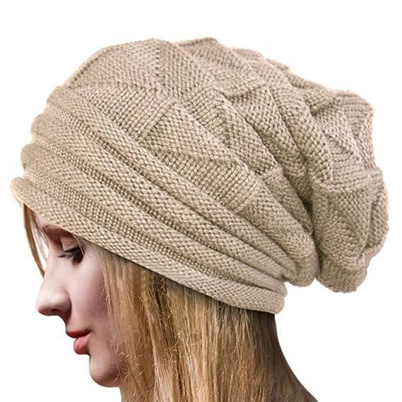 Crochet Invierno Gorro Punto Caliente Cozy Mujeres Grande Sombrero Moda  Diseño de Lana Tejer Beanie Warm Caps (Beige)  Amazon.es  Ropa y accesorios ba7bbb2aac6
