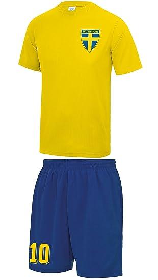Mens Customisable Sweden Sverige Style Football Kit Shirt And Shorts