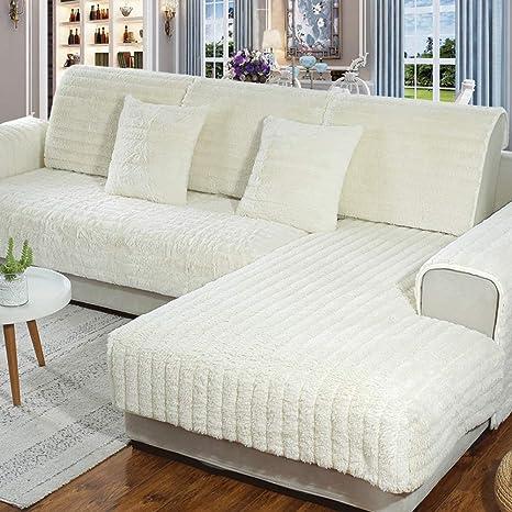 SQINAA Felpa,De Lujo Color sólido Slipcover del sofá Antideslizante Protector de colchón en Forma de l Sofá Seccional-Blanco 70x120cm(28x47inch)