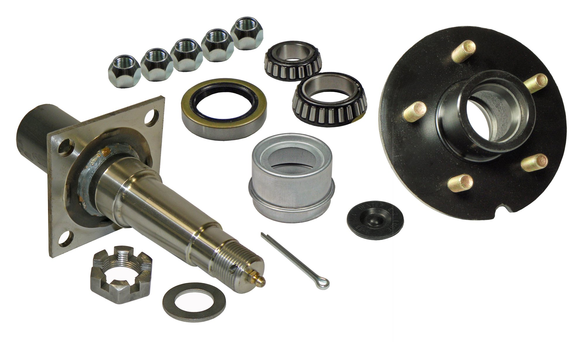Rigid Hitch Single - 5-Bolt on 4-1/2 Inch Hub Assembly (RD-3500545F) Includes (1) Flanged, 1-3/8 Inch to 1-1/16 Inch Tapered Spindle & Bearings by Rigid Hitch