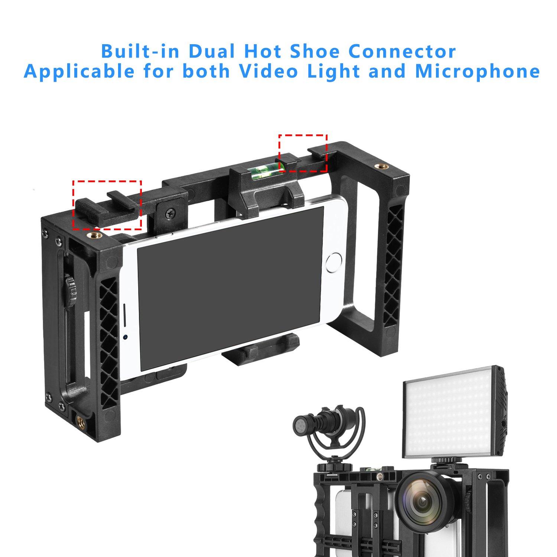 Phone Vid/éo Rig pour Filmmaking Compatible avec Apple iPhone Samsung et la Plupart des Smartphones Zecti Stabilisateur pour Smartphone