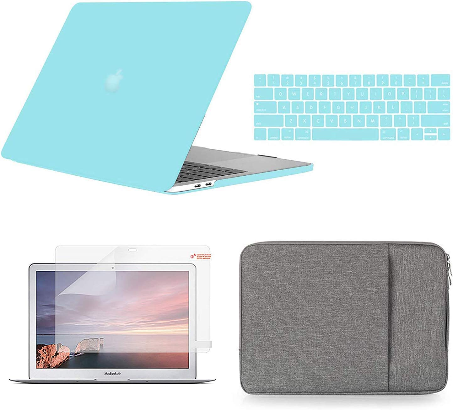 Holilife Compatible with MacBook Air 13 inch Case Bundle 4 in 1, Plastic Hard Shell & Keyboard Cover & Sleeve Bag & Screen Protector Compatible with 2010-2017 Release Macbook Air 13 Model A1369/A1466 - Mint Blue