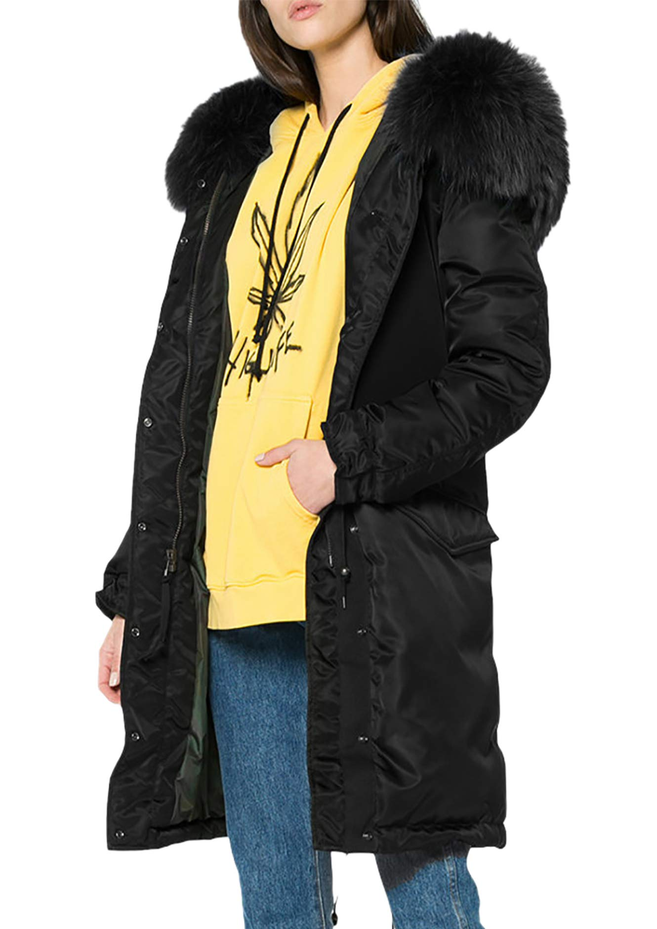 Aofur Women Vintage Winter Casual Outdoor Coat Hoodie Jacket Long Trench Parkas (XX-Large, Black)