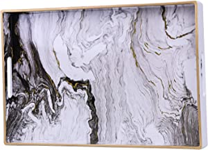 """Zosenley Decorative Tray, Marbling Plastic Tray with Handles, Rectangular Vanity Tray and Serving Tray for Bathroom, Kitchen, Ottoman and Coffee Table, 15.6"""" x 10.2"""", White"""