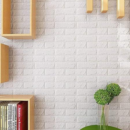 10pcs KINLO 3D Wandpaneele Selbstklebend Steinoptik Tapete 77 x 70 x 0.9 cm Wasserfest Ziegelstein Wandtattoo PVC verdicht DI
