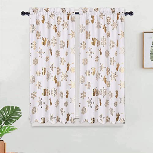 Haperlare Kitchen Cafe Curtains, Metallic Snowflake Gold Foil Pattern Short Bathroom Window Curtain, Angel Design Half Window Covering Tier Curtains, 27 x 45 , Off White, Set of 2
