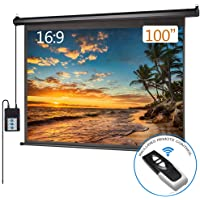 Motorized Projector Screen 100 inch 16:9 HD Diagonal Indoor and Outdoor Electric Move Screen with Remote Control for Family Home Office Theater, Black
