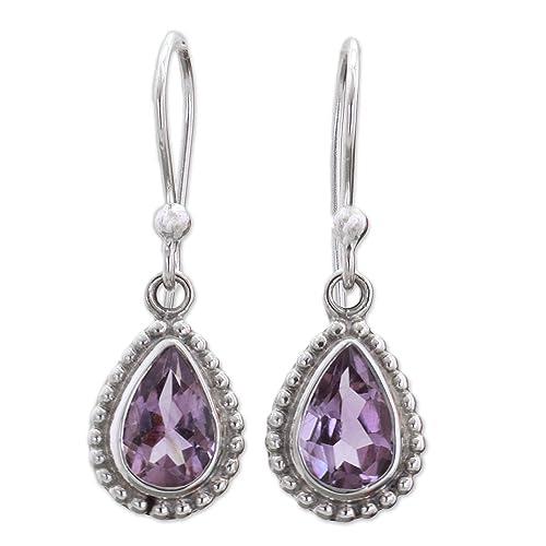 NOVICA Teardrop Shape Amethyst .925 Sterling Silver Dangle Earrings Radiant Lilac