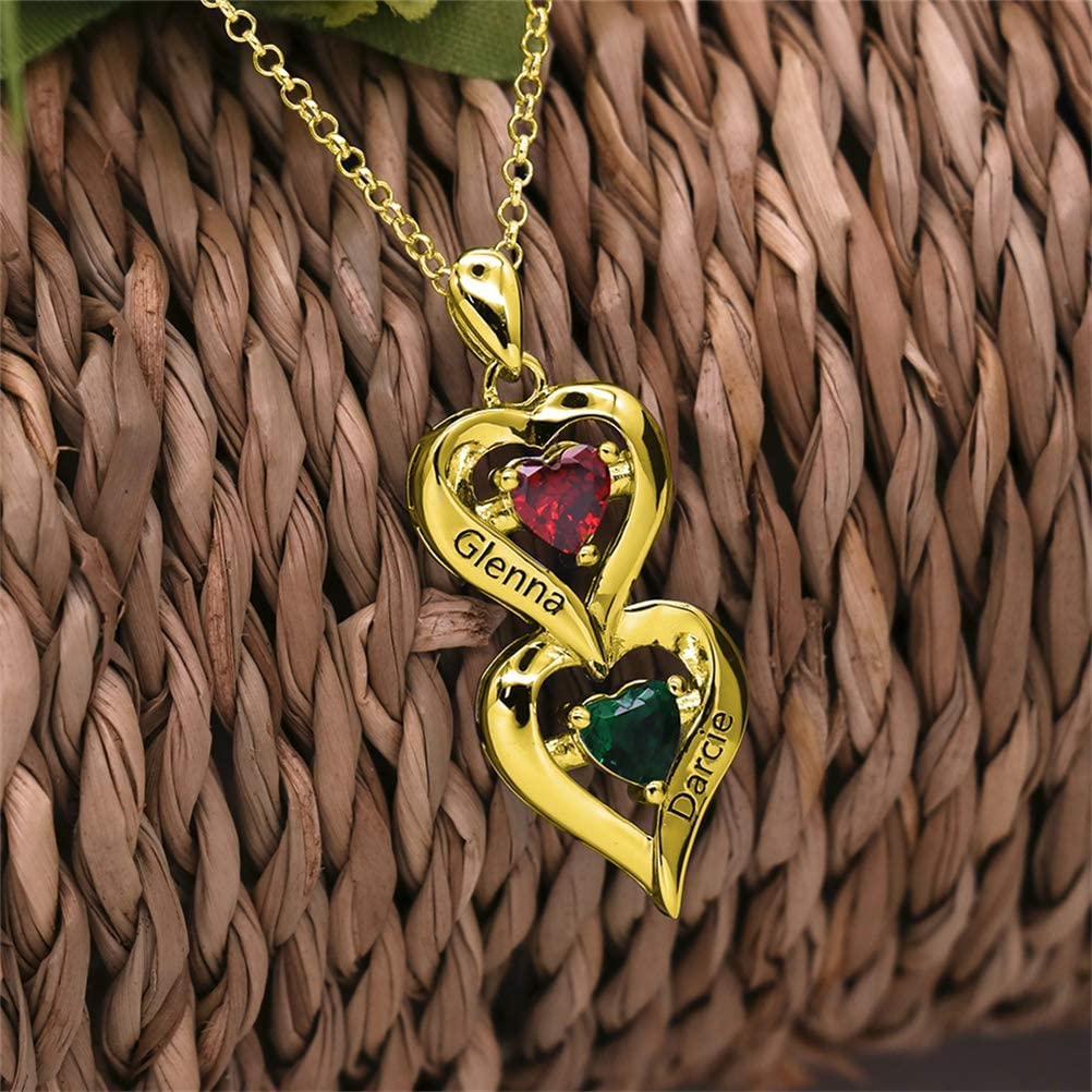 ZWSLY 925 Sterling Silver Custom Necklace 2 Names with Birthstone Necklace Vertical Heart Pendant Necklace