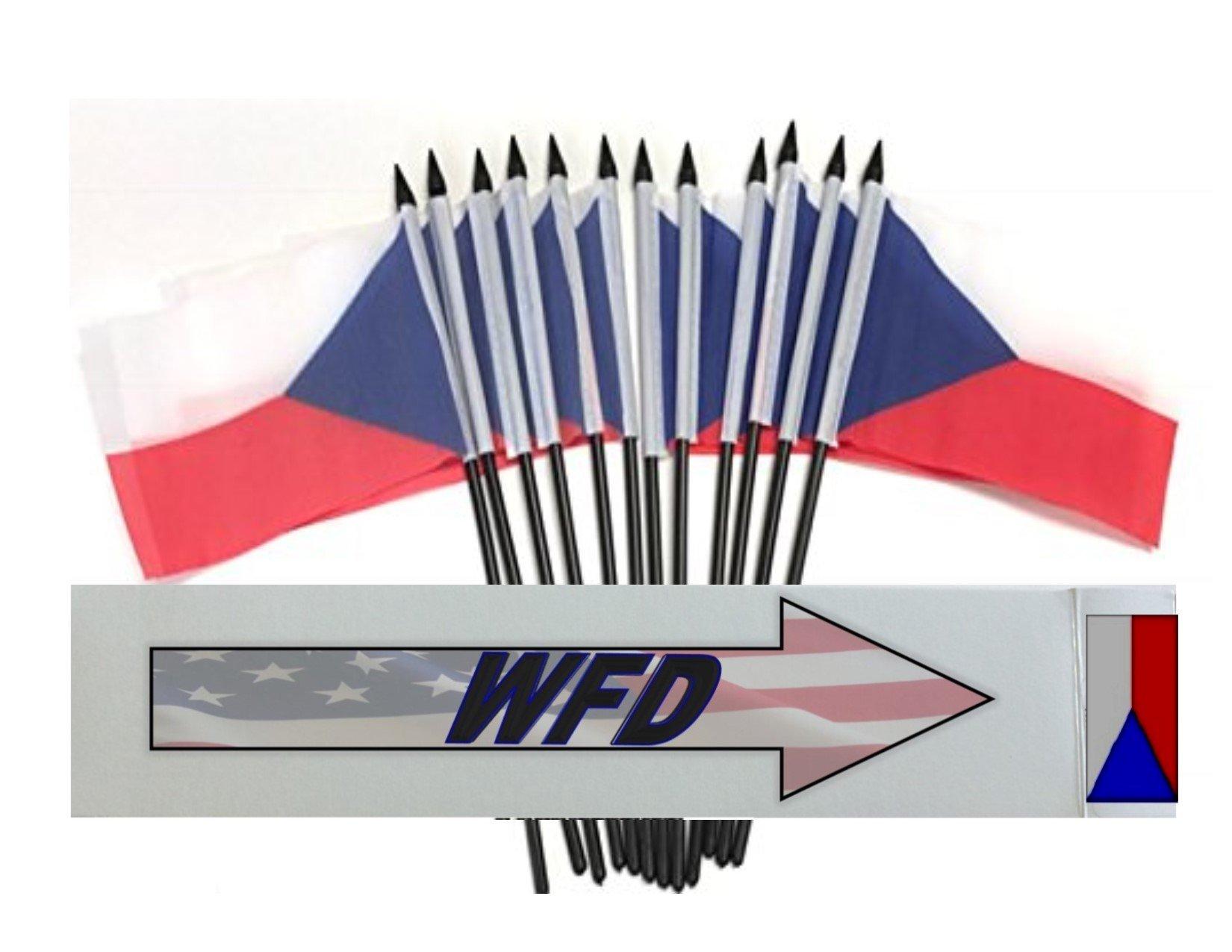 Wholesale Box of 144 4''x6'' Czech Republic Polyester Miniature Desk & Little Table Flags, 12 Dozen 4''x 6'' Czech Small Mini Handheld Waving Stick Flag