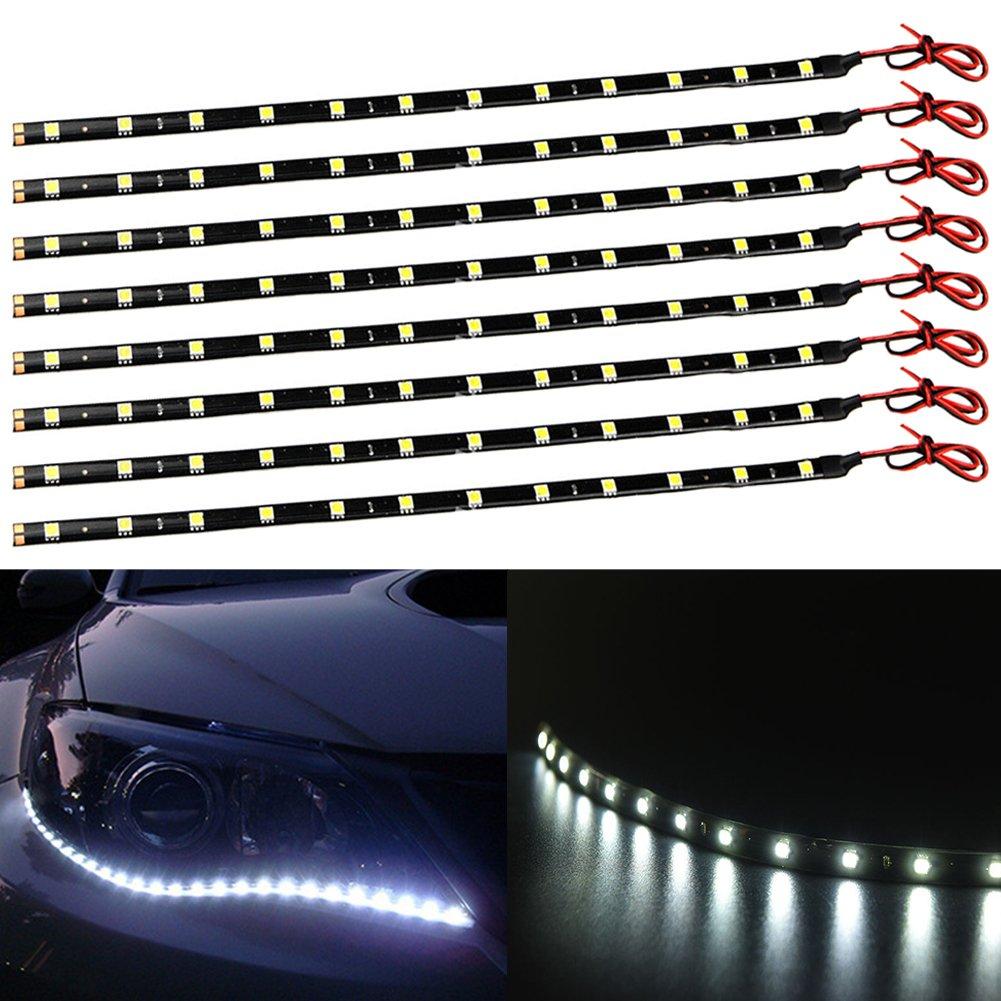 taben 12 V coche motocicleta impermeable LED de 30 cm tira de luz flexible blanco 5050 –  12SMD (Pack de 4 unidades)