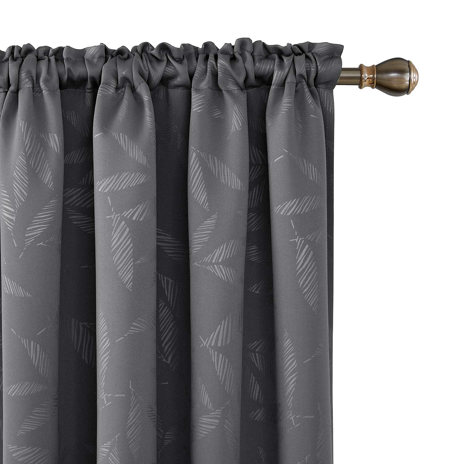 Deconovo Decorative Bamboo Leaf Blackout Curtains Rod Pocket Texture Embossed Window Curtains for Kids Room 52W x 63L Inch Dark Grey 2 Panels
