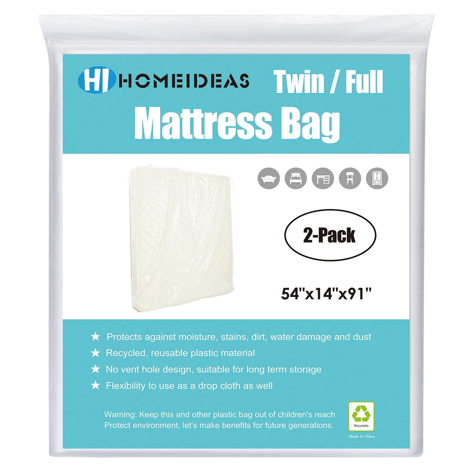 (Twin/Full) - HOMEIDEAS 2-Pack Extra Thick Mattress Bag for Moving and Storage,Fits Twin/Full Size B074QNZQ1T Parent  Twin / Full