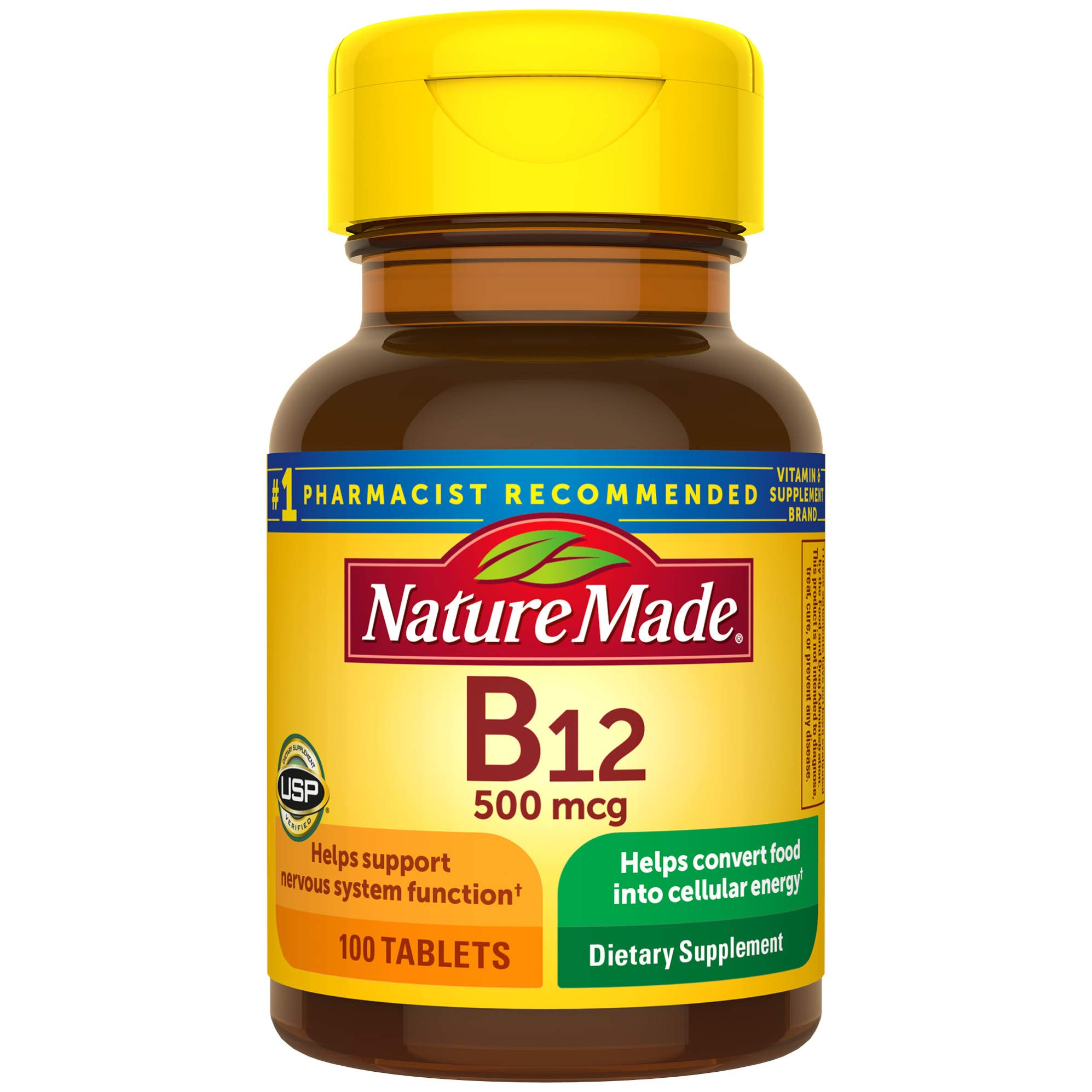 Nature Made Vitamin B12 500 mcg Tablets, 100 Count for Metabolic Health
