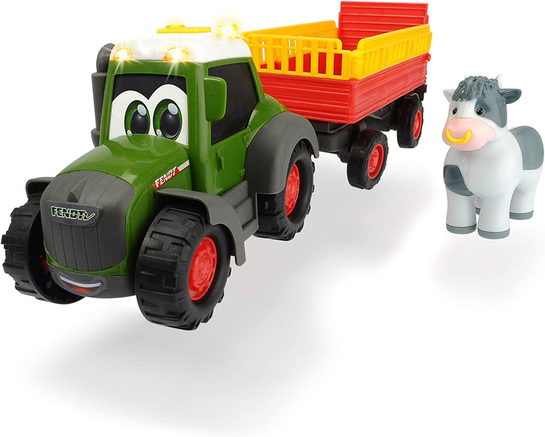 Dickie Toys Happy Fendt Trailer, Tractor para niños a Partir de 1 año, Trecker Remolque de Animales, Juguete de Granja, luz y Sonido, 30 cm, Color Verde, Rojo y Amarillo. (203815004)