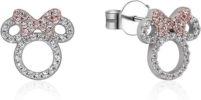 Disney Couture Boucles d/'oreilles /à tige plaqu/ées or blanc en forme de t/ête de Mickey Mouse