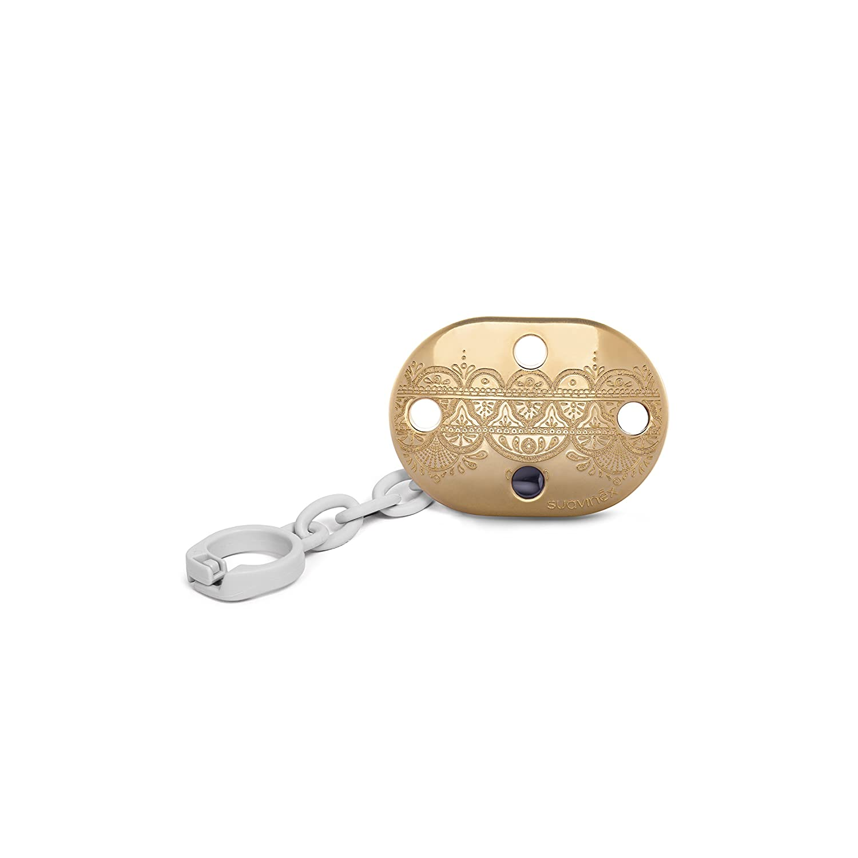 Suavinex - Broche Chupete de Bebé Premium Haute Couture. Broche Pinza Redondo. 0% BPA. Diseño Étnico Con Relieves Color Dorado y Perla