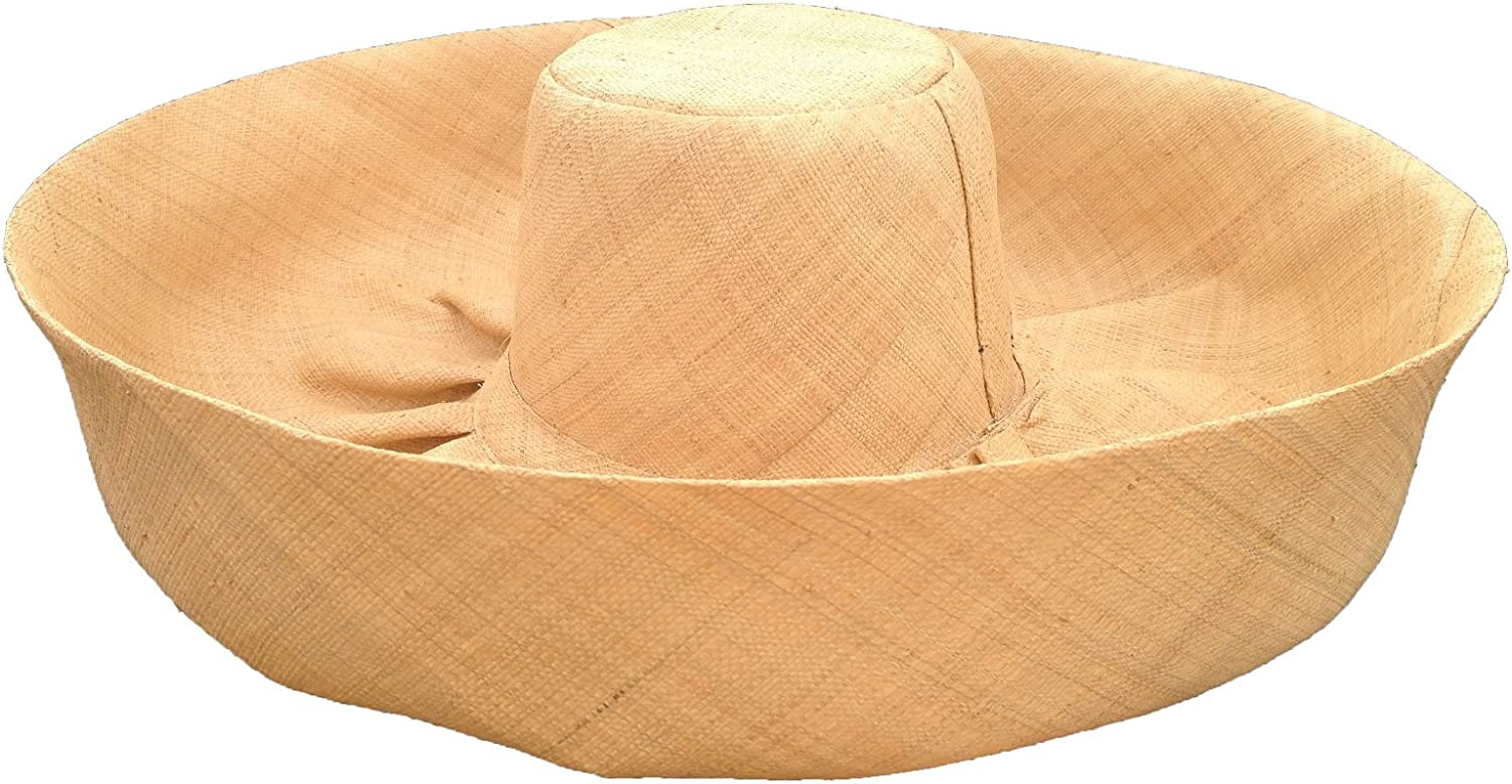 Huge Natural Raffia Madagascar Hut 9 Inch Brim durch Goal 2020