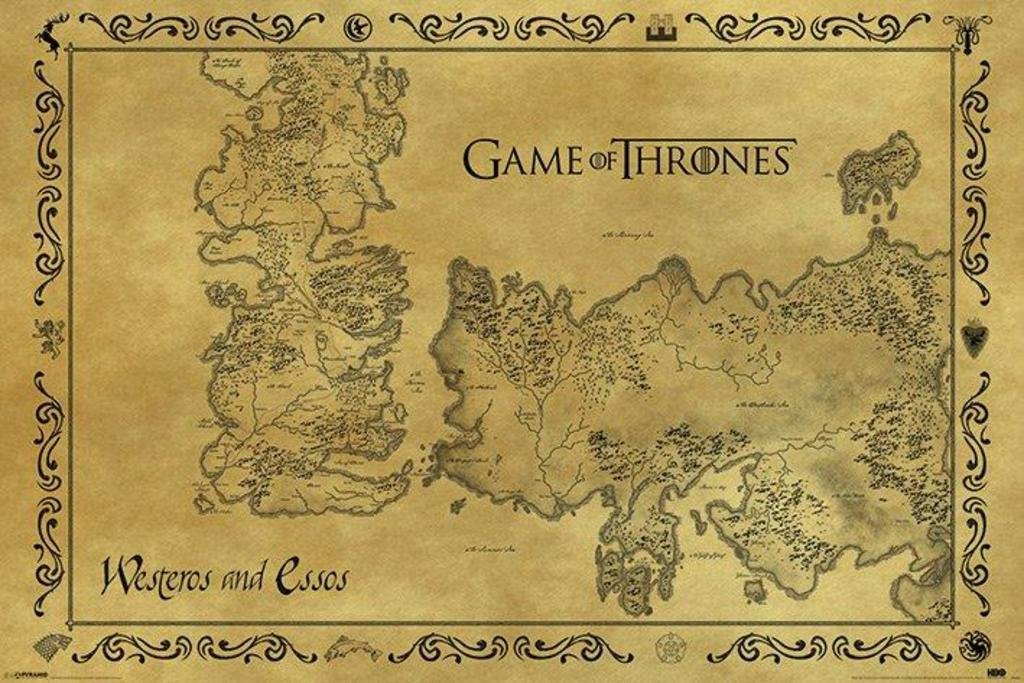Pyramid America Game Thrones Westeros Essos Antique Map TV Show Giant Poster 55x39 inch