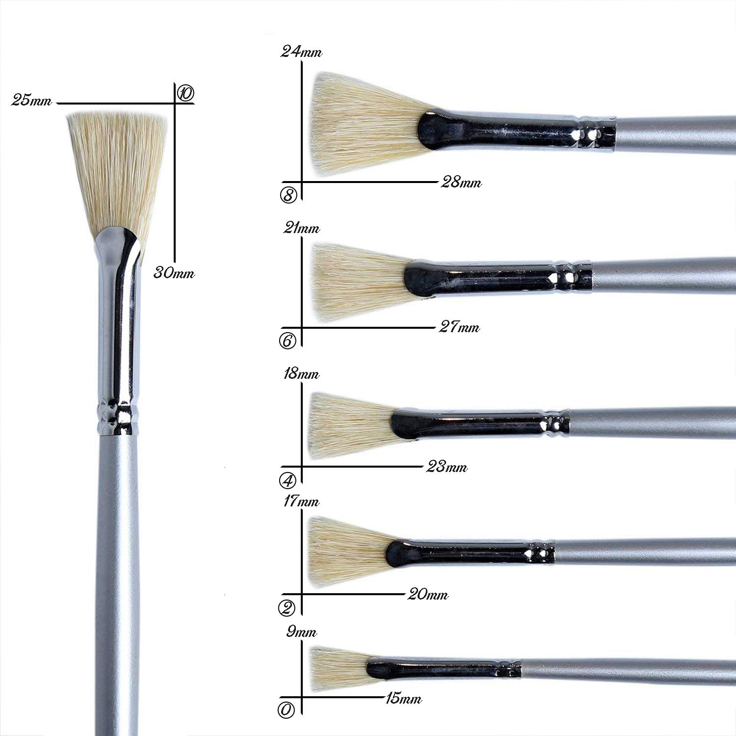 ATWORTH White Hog Bristle Fan Paint Brushes Set Blender for Oil and Acrylic Paints 6PCS