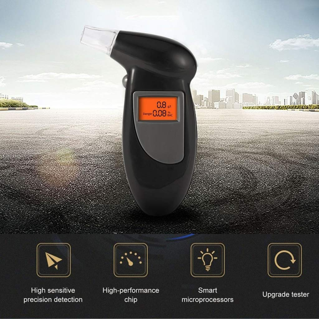 Alcohol Breathalyser Portable Breath Tester Accurate Digital Display LCD Light Convenient Lightweight Pocket Design Driving Accessory