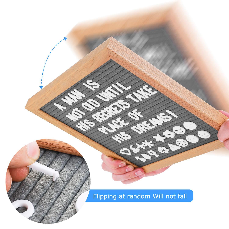 Lavagnette Promemoria con Bacheca in Legno con 350 Lettere Bianche Numeri ed Emoji cavalletto e Borsa con Coulisse Lavagna con Lettere 10/×10 Pollice Letter Board di Retro Grigio Feltro