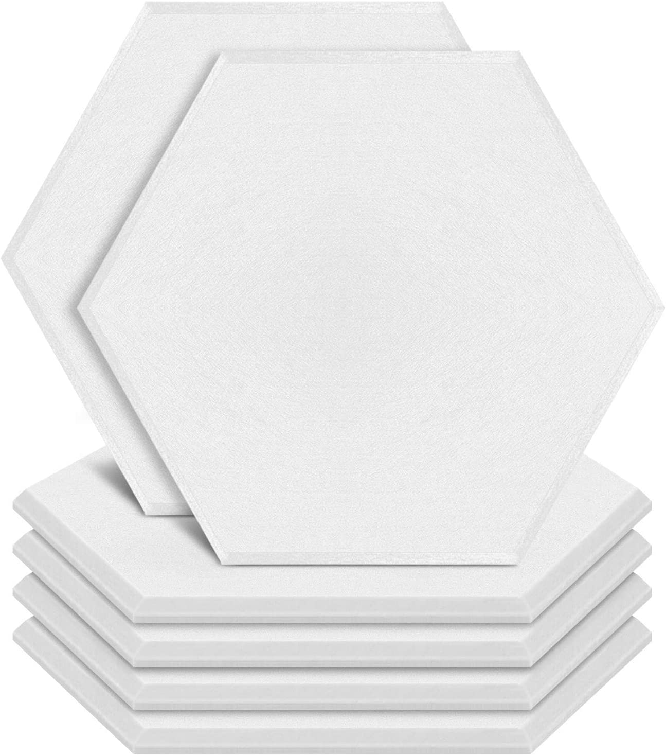 ZHERMAO 6 Pack Acoustic Panels Sound Proof Padding,14 X 13 X 0.4 Inches Sound Dampening Panels Bevled Edge Sound Panels, Used in Wall Decoration and Acoustic Treatment (Hexagon white)