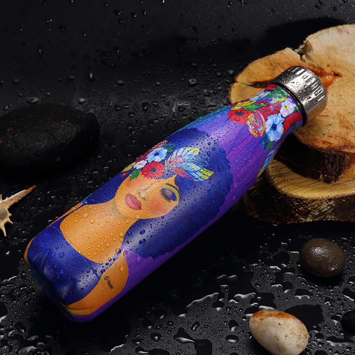 Bouteille deau Isotherme,500ml Bouteille Eau Reutilisable Thermos BPA Free Double Paroi Gourde INOX Isotherme Brosse de Nettoyage