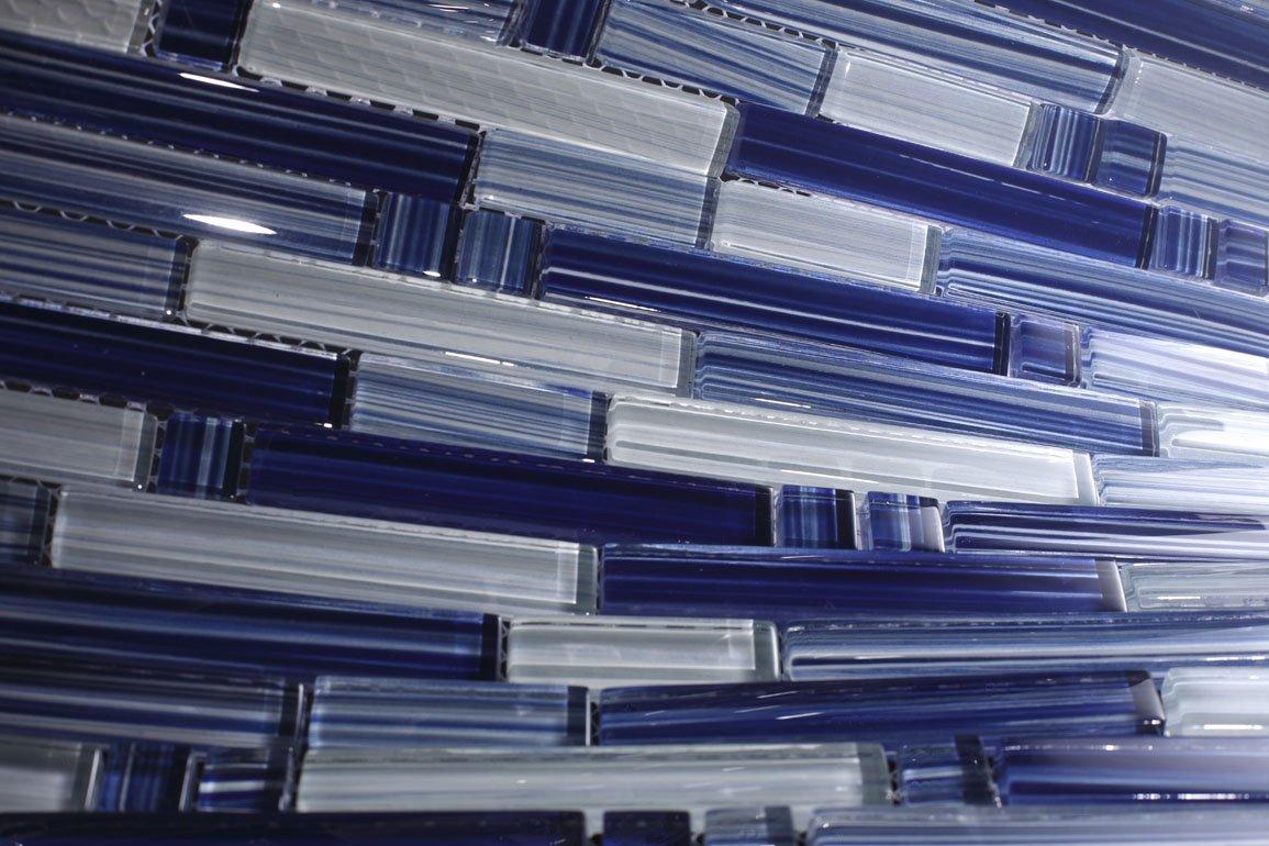 Cobalt Blue - Blue Random Pattern Glass Tile