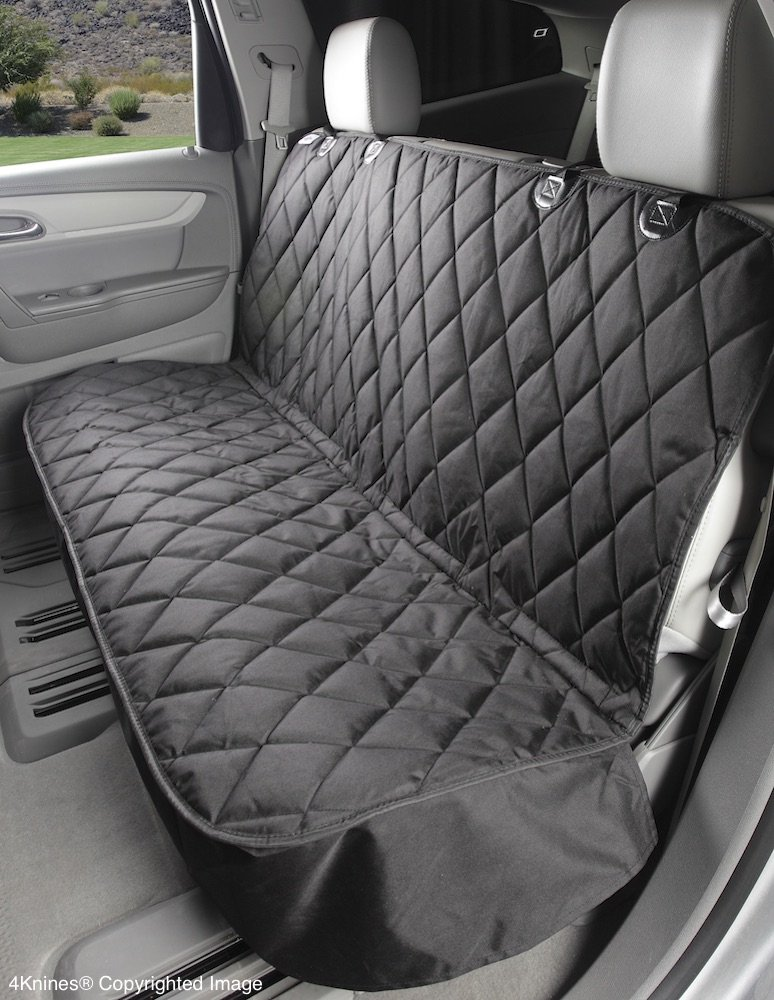 4Knines Dog Seat Cover Without Hammock for Cars, SUVs, and Small Trucks - New Waterproof Seat Bottom - USA Based Company - (Black)