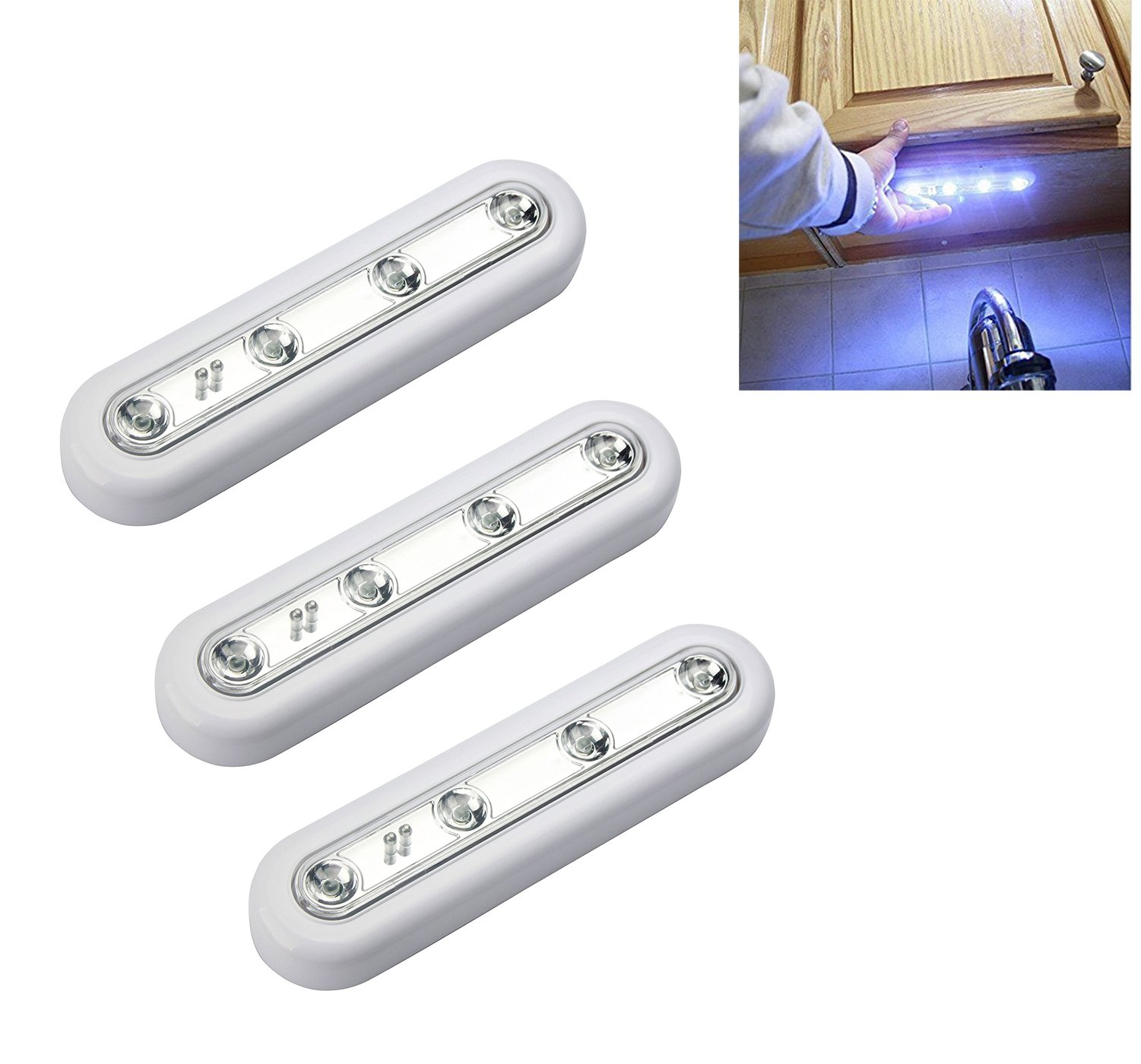 [New Generation] Ilyever Set of 3 Touch-Activated Stick-on Super Bright 4-Led Battery-0perated Touch Tap Light for Attic Basement Garage Cellar Path Stairs