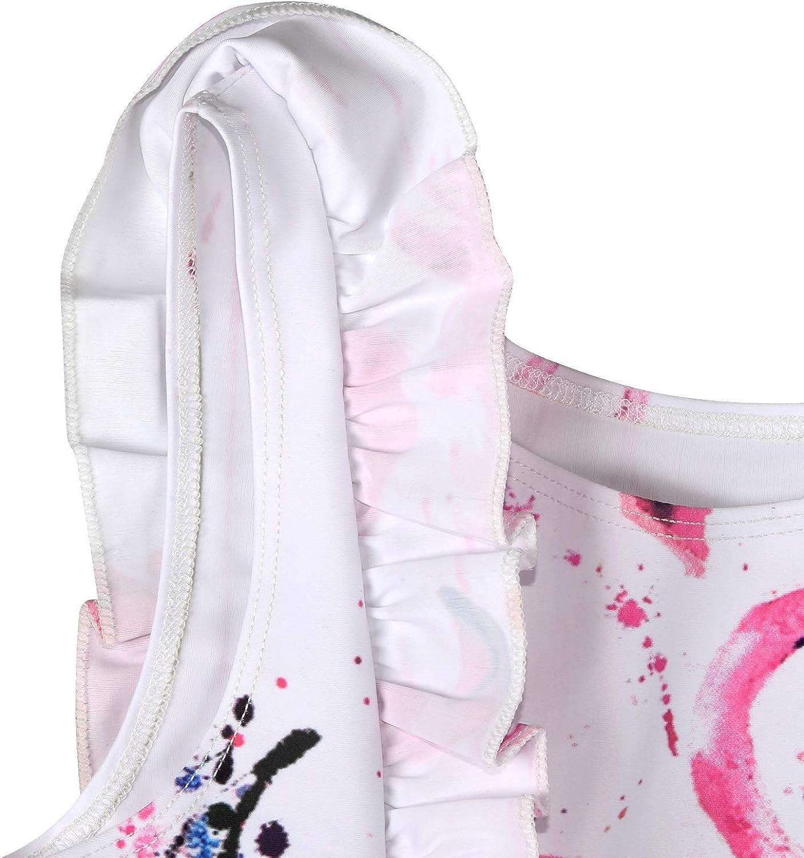 CRAZY GOTEND Girls Two-Piece Swimsuit Flamingo//Summer Flower Stripe Printed Flying Sleeve Ruffle Swimwear Bikini
