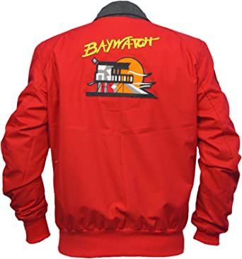 BAYWATCH LIFEGUARD COTTON BOMBER RED JACKET VINTAGE