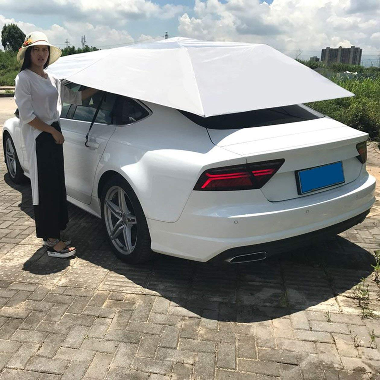 Automatische Autodach-Zelt, bewegliches Autodach Sonnenschutz Regenschirm Wasserdichte staubdichte Markise mit Blau Fernbedienung, Blau mit 78a0ed