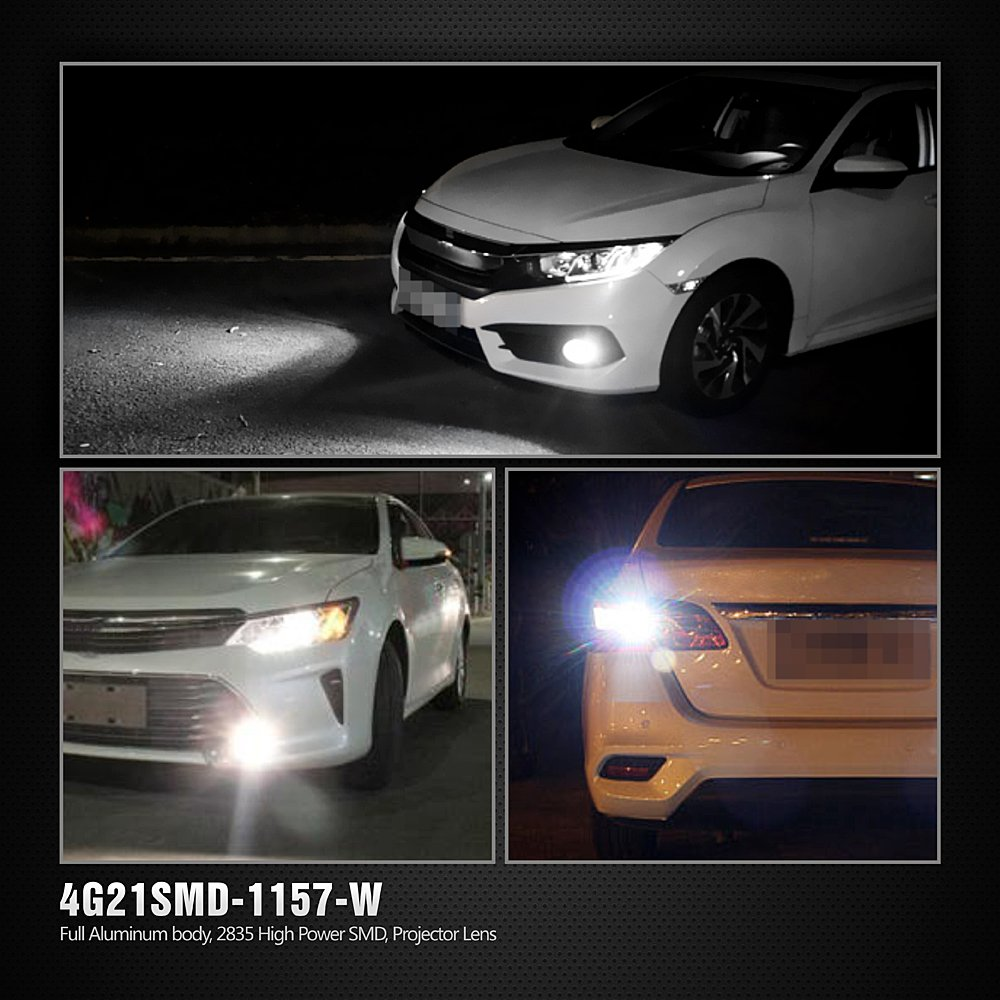 SiriusLED Extremely Bright 35W 2835 Chipset 21 SMD LED Bulbs with Projector for Car Turn Signals Daytime Running DRL Brake Tail Lights Dual Brightness 3157 3157A 3155 3457 4157 Amber Yellow