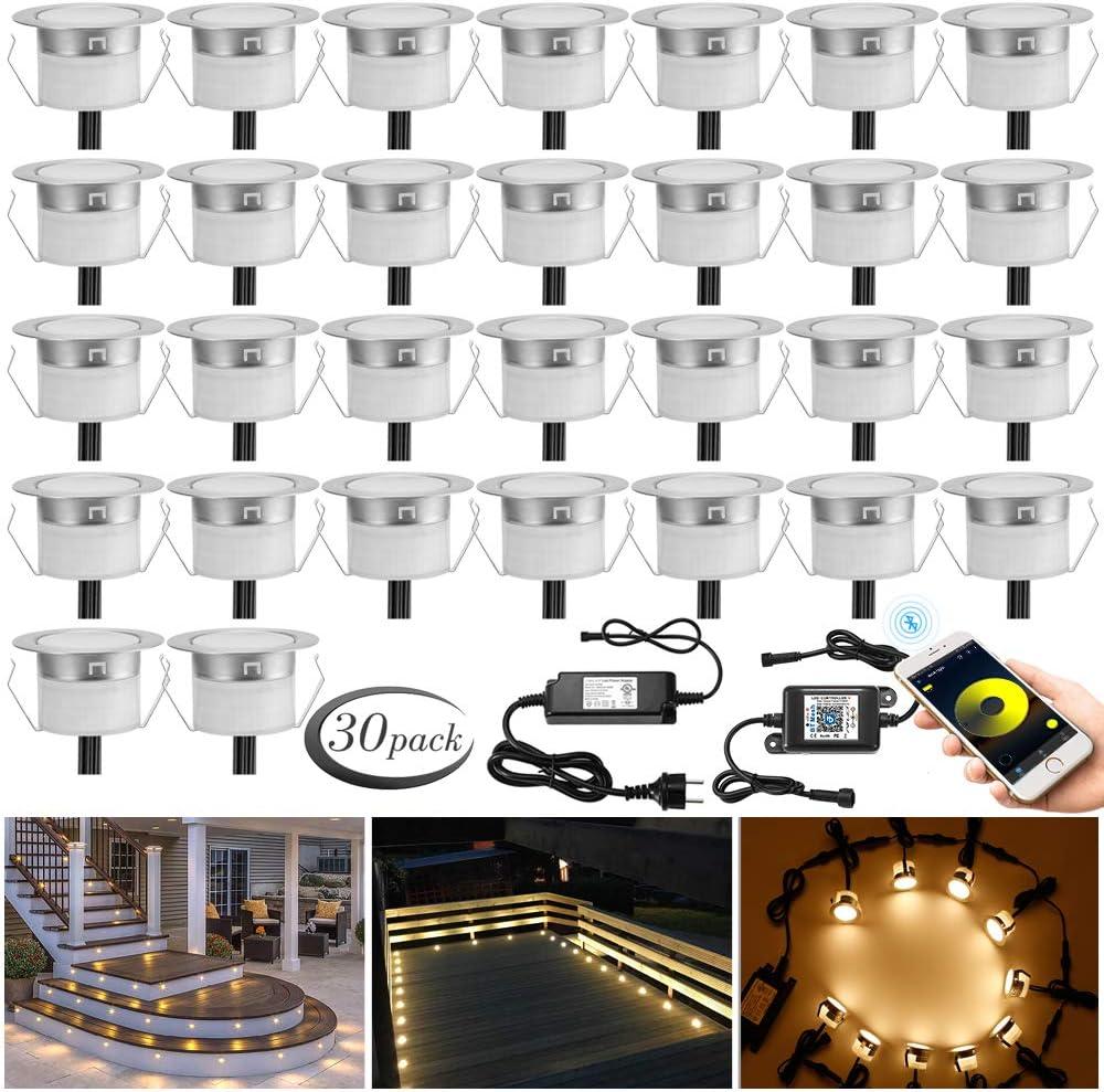 6er set Bluetooth RGBWW Led Bodeneinbaustrahle Aussen 1.5W /Ø45mm IP67 Wasserdicht LED Einbaustrahler Terrasse K/üche Garten Led Lampe Full Kit