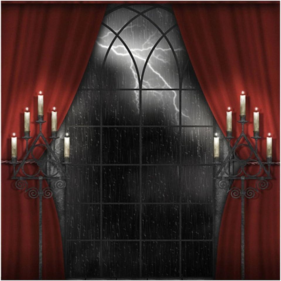 R Fotografie Hintergrund Indoor 150x200cm Halloween Hintergrund Rot Vorhang Studio Hintergrund SODIAL Horror regnerischen Nacht