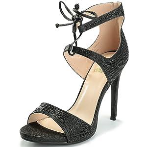 Alexis Leroy Women's Lace Up Stiletto Heel Wedding Sandals Black 39 M EU / 8-8.5 B(M) US