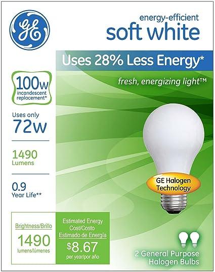 GE Lighting 63005 Soft White 72-Watt 6-Pack 100-Watt Replacement 1490-Lumen A19 Light Bulb with Medium Base