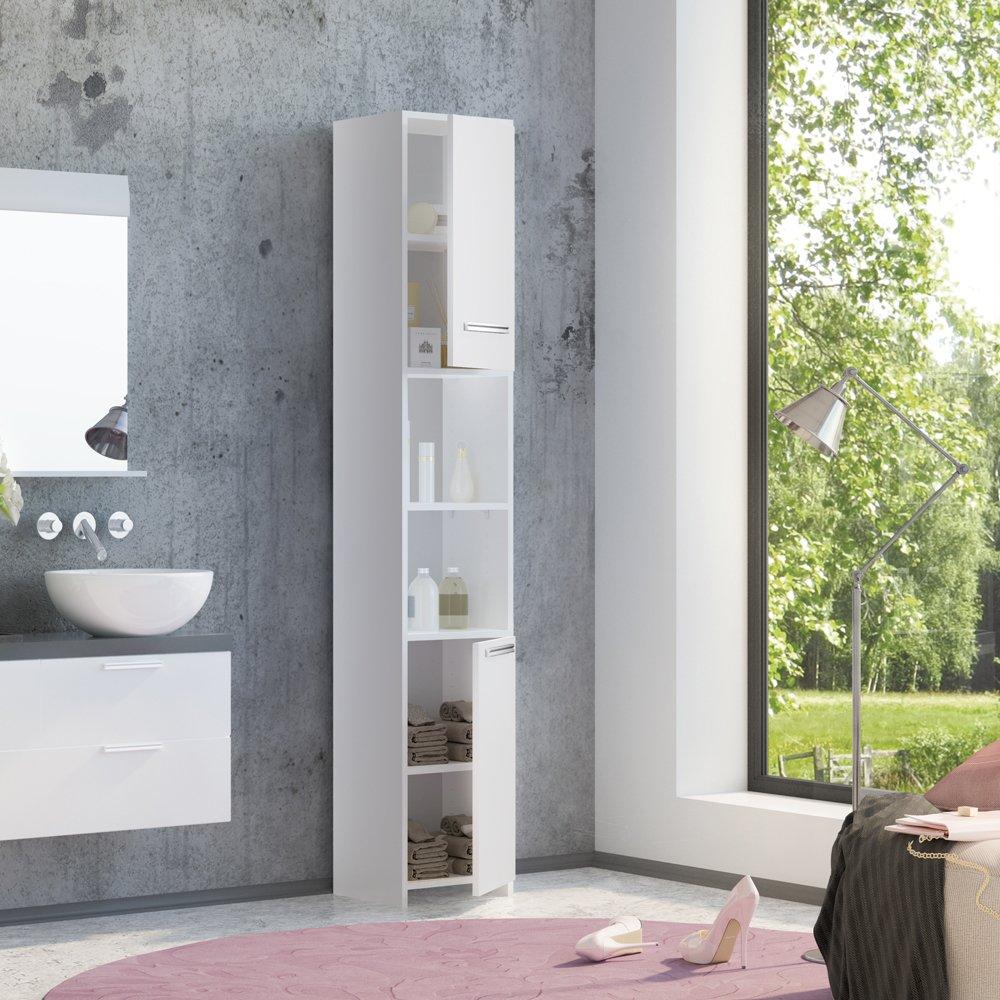 Badschrank KIKO 190 x 30 cm Weiß - Badezimmerschrank Hochschrank Holz Badmöbel Schrank Regal