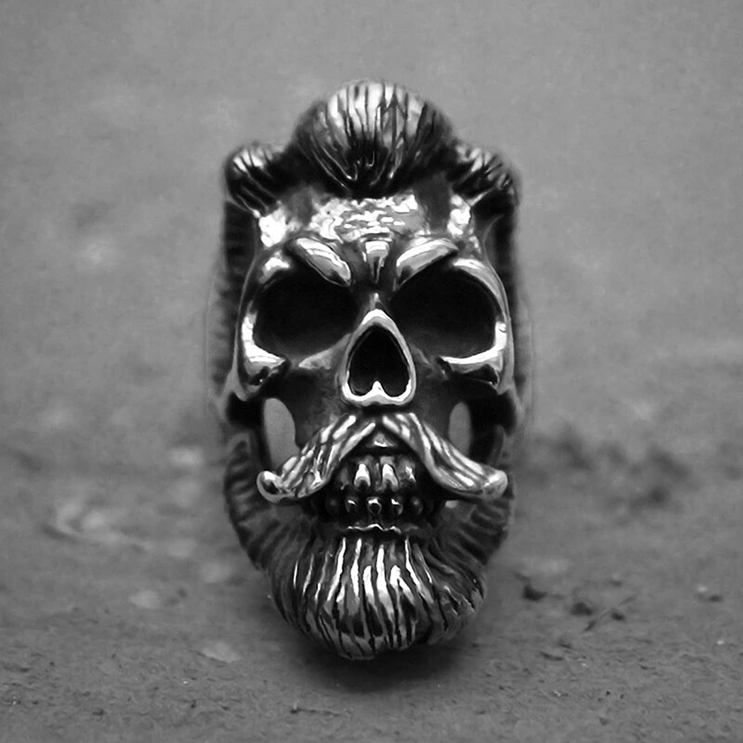 Cool Mens Bearded Mustache Gentleman Skull Rings Unique Special Jewelry Gift For Men Ring Men Handmade 316L Stainless Steel