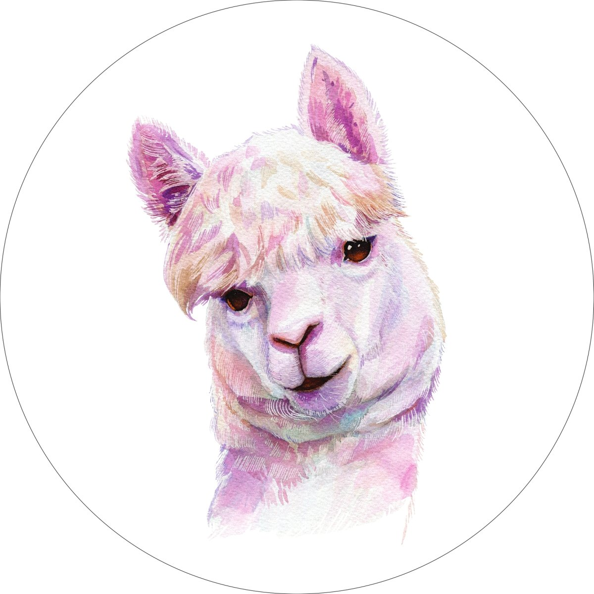 Llama Home Wall Shelf Decor Animal Decorations Watercolor Round Sign - 18 Inch, Plastic